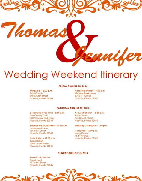 wedding itinerary template download free premium