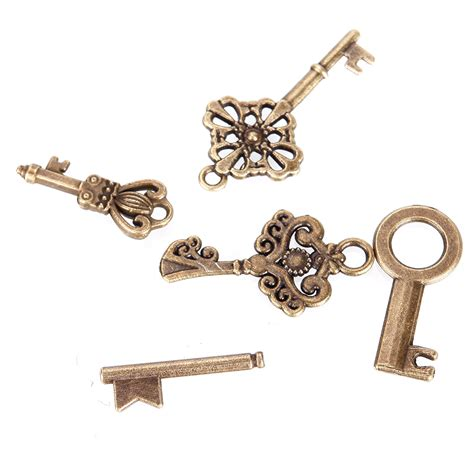 Handmade Antique Jewelry - 69pcs antique vintage bronze skeleton key charms set diy