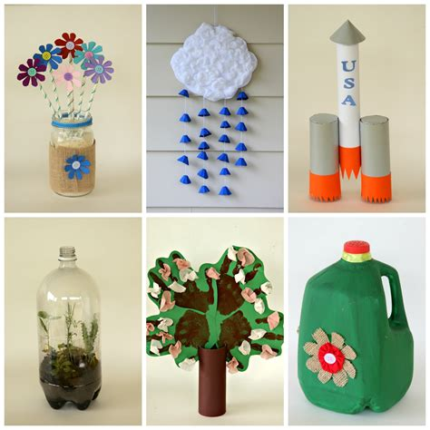 arts and crafts ideas for take care of earth by reusing recyclables in