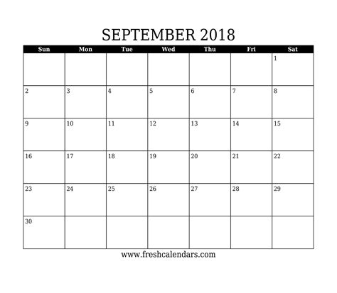 printable calendar select dates september 2018 printable calendar templates