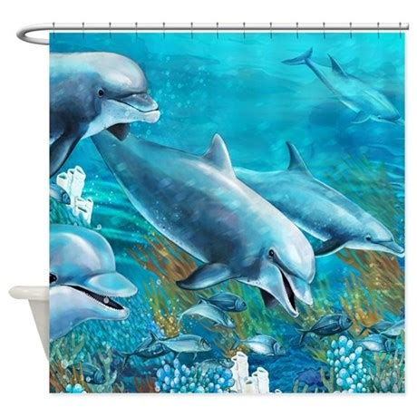 dolphin curtains beautiful dolphin painting shower curtain by