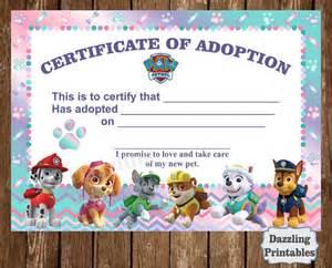 paw patrol adoption certificate digital file by