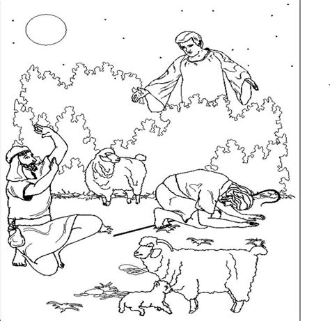 angels visit shepherds coloring page free coloring pages of angel and shepherd coloring page