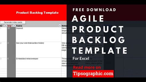 Agile Product Backlog Template For Excel Free Download Http Bit Ly 2vchikc Youtube Product Backlog Template