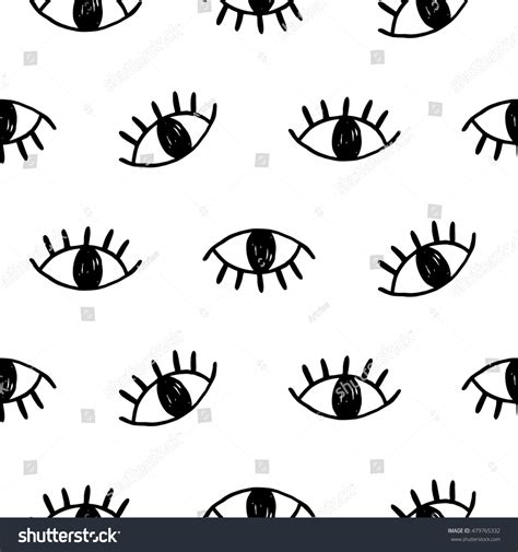 eye pattern website hand drawn open eyes doodles seamless stock vector