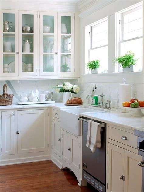 paint inside cabinets country kitchen bhg