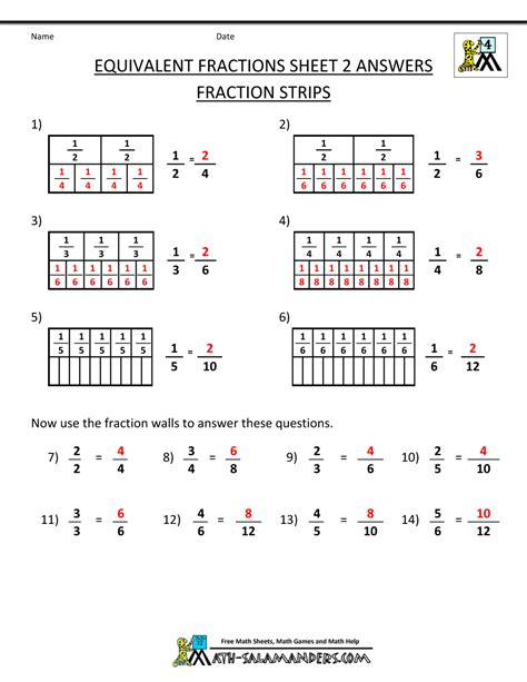 4th grade equivalent fractions fraction wall ans gif 1 000