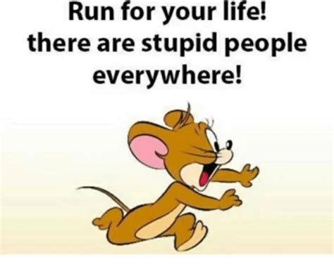 Stupid People Everywhere Meme - run for your life there are stupid people everywhere