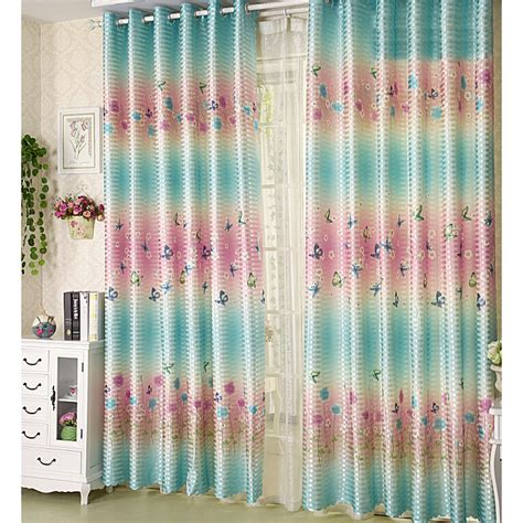 pink and blue curtains decorative polyester blue and pink stripe floral butterfly