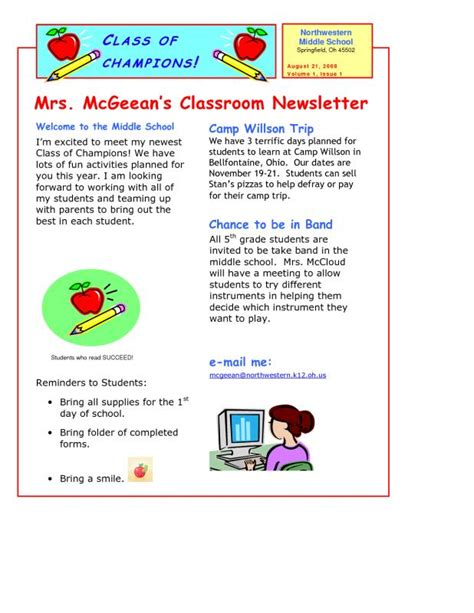student newsletter templates free newsletter templates template business