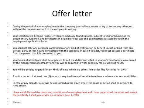 Offer Letter Clauses Bsnsletters