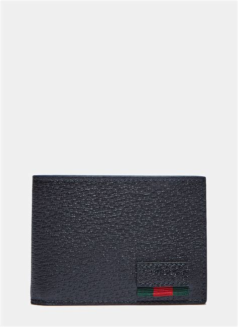 Guccie Basic 3 stores in stock gucci men s textured dollar ribbon basic fold wallet in black black leather