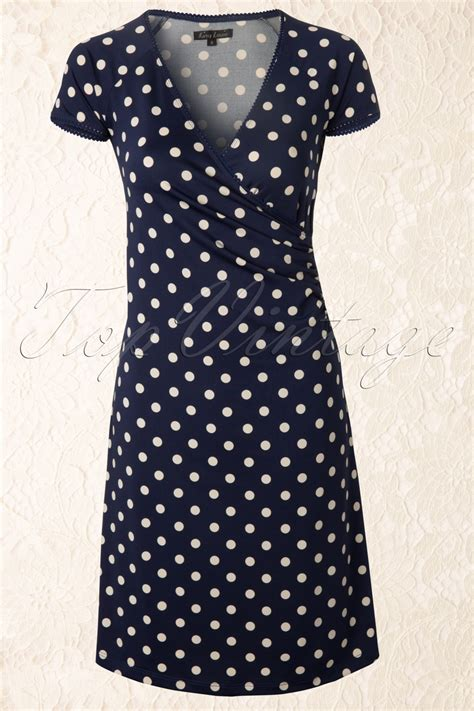 Nl Dress Polka 50s polkadot cross dress in jet blue partypolka