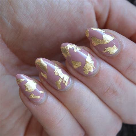 easy nail art leaf gold leaf nail art easy but pretty nail art talonted lex