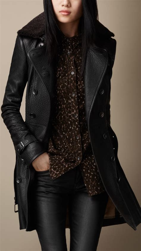 burberry midlength shearling collar leather trench coat in