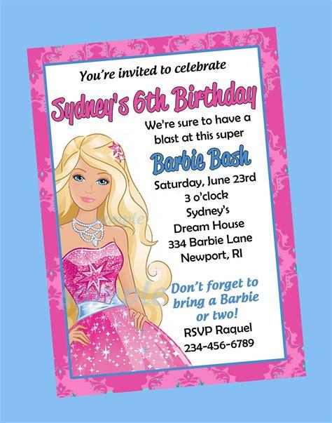 printable invitations barbie free print barbie invitations birthday invitations
