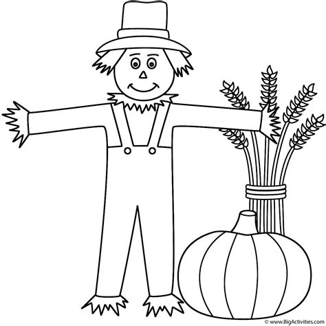 pumpkin themed coloring pages scarecrow with wheat sheaf and pumpkin coloring page