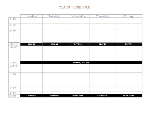 class schedule planner template 6 best images of college schedule template printable