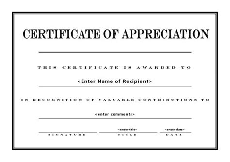 free printable certificate of appreciation templates best photos of free printable blank certificate of