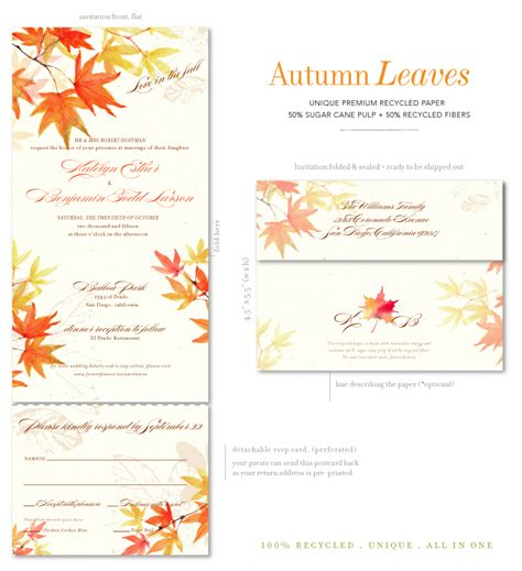 autumnal wedding invitations fall wedding invitations with autumn leaves on 100 recycled paper by foreverfiances weddings