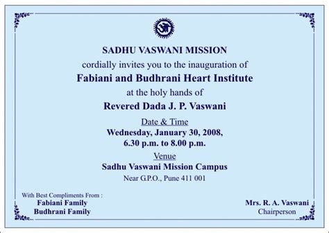 Invitation Letter Format Of Inauguration Invitation To The Official Inauguration Of The Fabiani Budhrani Institute 187 Sadhu