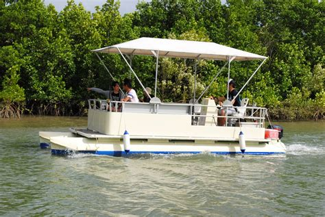 driving a pontoon boat half day 8 man self drive pontoon boat cairns tourism