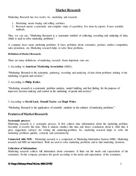 Market Research Mba Notes market research notes