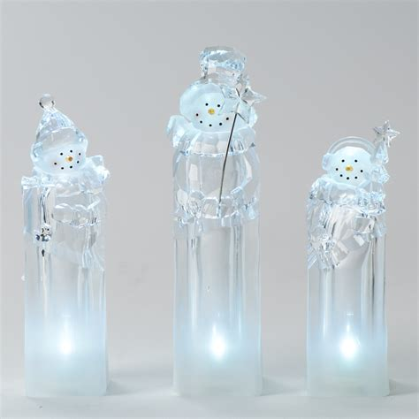 shop roman christmas plastic lighted snowman ice cube