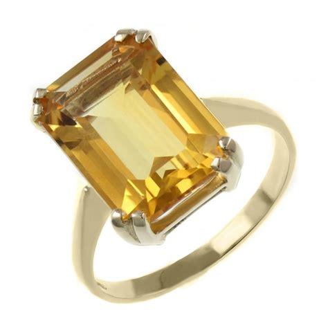 9ct yellow gold 14x10mm emerald cut citrine ring