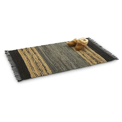 flat weave cotton rugs leather cotton 5x8 chindi flat weave rug 167819 rugs at sportsman s guide