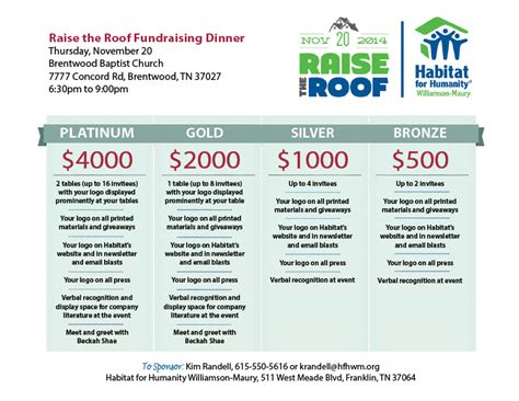 for event sponsorship raise the roof for habitat fundraising dinner and 20th