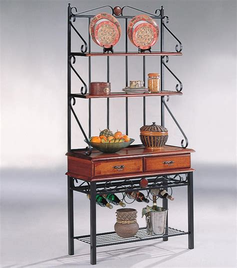 kitchen bakers rack cabinets tobacco brown metal 3 shelf kitchen cabinet with wine rack