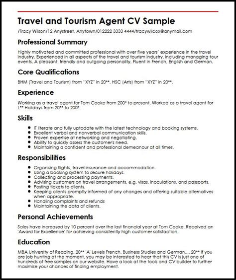 travel cv sle myperfectcv