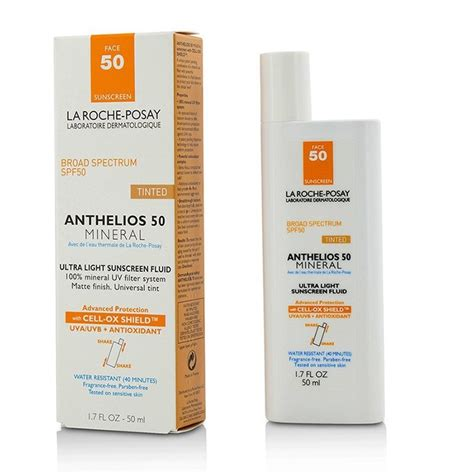 anthelios 50 mineral ultra light sunscreen fluid 1 7 fl oz la roche posay anthelios 50 mineral tinted ultra light