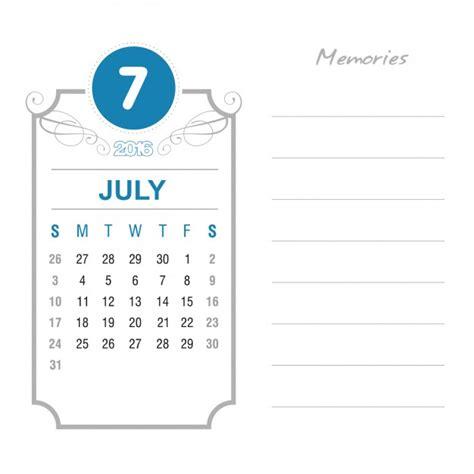 Kalender 2016 Juli Vintage Kalender Juli 2016 Vector Gratis