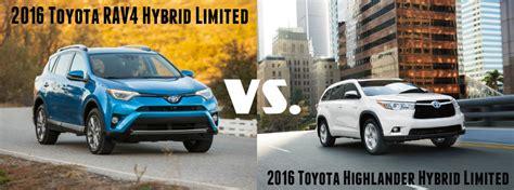 Toyota Highlander Vs Rav4 2016 Toyota Rav4 Hybrid Limited Vs Highlander Hybrid Limited