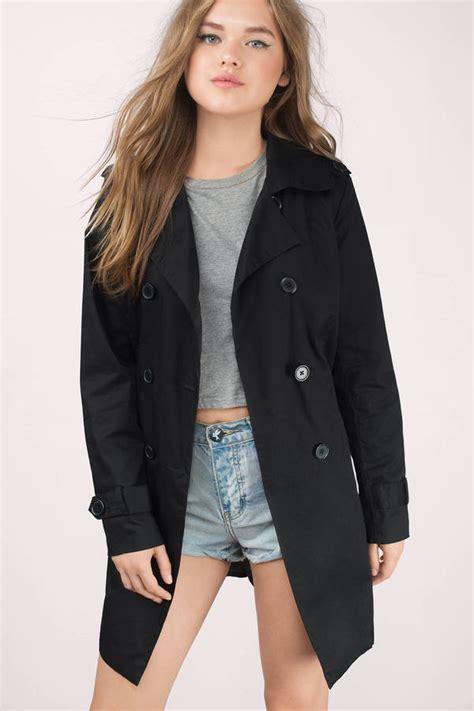 Black Coat black coat waist tie coat trench coat black trench