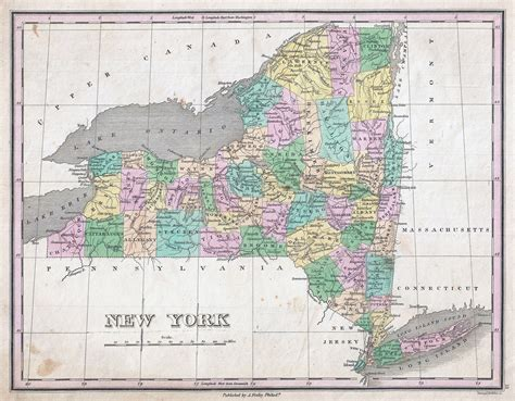 map of state of new york large detailed administrative map of new york state