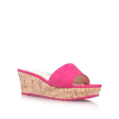 Sandal Wedges Wg14 Pink nine west confetty mid wedge heel sandals in pink lyst
