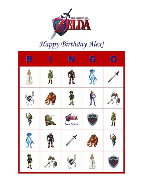 printable zelda card the legend of zelda link personalized birthday party game