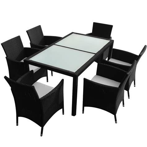black rattan outdoor furniture vidaxl co uk vidaxl black poly rattan garden furniture set 1 table 6 chairs