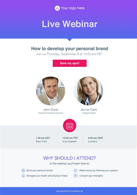 Webinar Invite Pages By Getresponse Sales Webinar Template