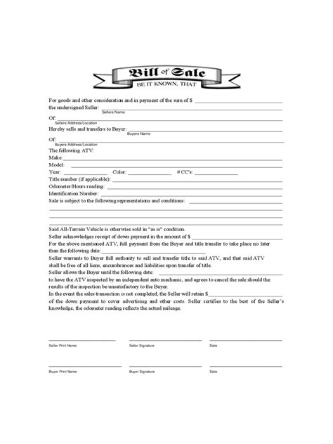 atv bill of sale form 9 free templates in pdf word