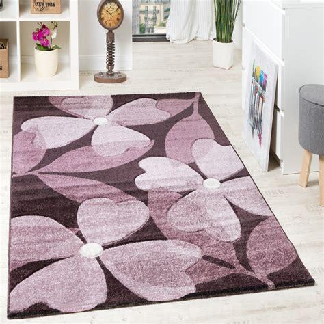 teppich flur modern designer teppich hochwertig modern blumen muster meliert
