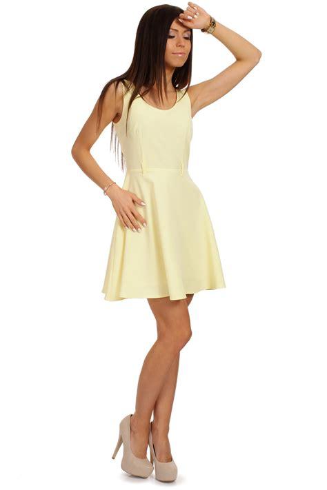 yellow neck sleeveless flippy dress with belt loops