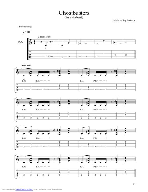cartoon themes guitar tabs ghostbusters theme guitar pro tab by misc soundtrack