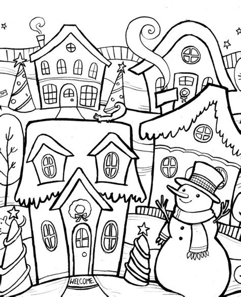 winter coloring scene of chirstmas winter coloring pages