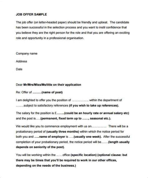 Employment Letter In Pdf 28 offer letter format templates free word pdf sle