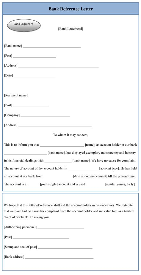 bank reference letter template sample templates