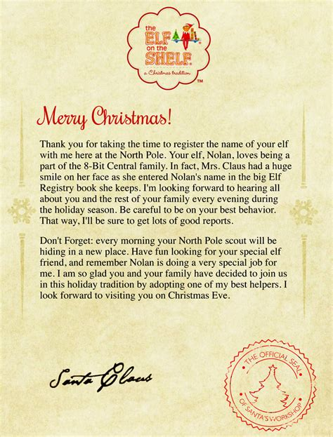 printable letters from santa about elf on the shelf elf on the shelf letter from santa new calendar template